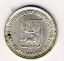 1954 Venezuela SILVER 25 Centimos In BU Condition - Venezuela