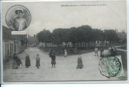 72 CHALLES * Entrée Par La Route De La Gare  * Belle CPA Animée - Altri Comuni