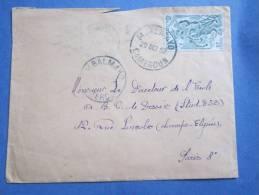 Timbre Sur Lettre Du Cameroun Mbalmayo De 1952 Pour Directeur Ecole De Dessin Champs Elysées  Paris - Camerun (1960-...)