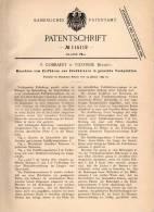Original Patentschrift - F. Cobbaert In Vilvoorde , 1899 , Zündholz - Maschine , Streichholz , Streichhölzer !!! - Machines