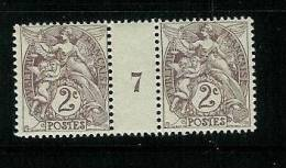 FRANCE TYPE  BLANC N° 108 **  MILLESIME 7 DE 1907 - Millésime