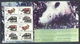 Max205MSc+10 WWF NEUSHOORN RHINO  ** OPDRUK OVERPRINT ** Bursa Filateli INDONESIA 1996 PF/MNH  *** 10 SHEETS!!!!! *** - W.W.F.