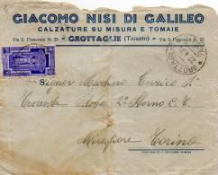 1934 LETTERA INTESTATA CALZATURE SU MISURA E TOMAIE CON ANNULLO GROTTAGLIE TARANTO - Marcophilie