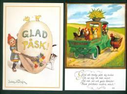 Sweden. 2 Different  Easter Card. Artist: Jenny Nystrom. Rooster, Hens, Chicken. Truck. Cat. Egg. - Sweden