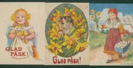 Sweden. 3 Different  Easter Card. Artist: Jenny Nystrom. Rooster, Flowers, Chicken. Girl. Cat. Egg. - Sweden