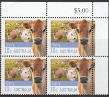 AUSTRALIA 2012 10c DAIRY FARMING AUSTRALIA IMP BLOCK OF (4) ORIGINAL GUM MNH - Blocks & Sheetlets