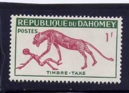 BENIN, REPUBLIQUE DU DAHOMEY,  1963,  MNH # J29, TIMBRE-TAXE, PANTHER & MAN - Bénin – Dahomey (1960-...)