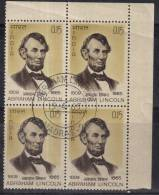 First Day Postmark India 1965 MNH, Block Of 4, Abraham Lincoln, Famous People. As Scan - Celebrità