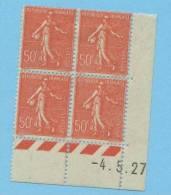 Semeuse 50 C. Rouge Lignée En Bloc De 4 Coin Daté - 1903-60 Semeuse Lignée