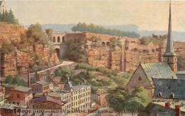 LUXEMBOURG - Le BOCK Et La Ville - Carte Colorisée - Oilette - 2 Scans - Luxemburg - Stad