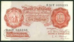 GREAT BRITAIN , 10 SHILLINGS (1955-60) , P-368c - 1952-… : Elizabeth II
