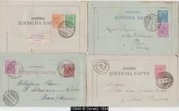 15948 Serbie Lot De 4 Lettercards 1893 Cartes Lettres Entiers Postaux Postal Stationery Oblitérés Used - Serbie