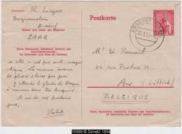 15989 Saarland EINSDORF 20.9.50 Stationery Card (Mi. P34) To Belgium - Ohne Zuordnung