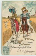 A COUNTRY IDYLL 1804  -  Carte Humoristique Avec Un âne. - Anes