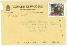 PROCENO 01020  PROV. VITERBO - ANNO 2001 - LS -  TEMA TOPIC COMUNI D´ITALIA - STORIA POSTALE - Affrancature Meccaniche Rosse (EMA)