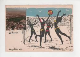 06 La Napoule Maisons Ligne Chemin De Fer Filet Volley Avec Joueuses Carte Originale - Volleyball