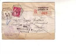 Paix Seul Recommandé Recette Auxiliaire Urbaine Marseille B Pour Avignon Vaucluse, Griffe Retour à L´envoyeur 260 - Marcophilie (Lettres)