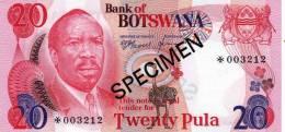 BOTSWANA 20 PULA 1979 SPECIMEN UNC - Botswana