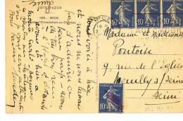 NICE -GRAND PRIX AUTOMOBILE -18 AOUT 1935-  Sur CP- Bel Aff. 4 T. 10c  Semeuse - SCANS RECTO VERSO - Marcophilie (Lettres)