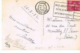 NICE - JUILLET 1932-FÊTE GYMNIQUE INTERNATIONALE -sur CP- FLIER - SCANS RECTO VERSO - Marcophilie (Lettres)
