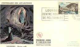 FRANCE FDC &T 1958 OBL LOURDES - FDC