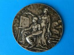 Médaille Argent Art Deco Graveur R. BAUDICHON - Jeune Peintre A La Palette - 60,71 Grs - 50 Mm - Professionali / Di Società