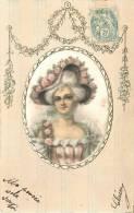 BELLE CPA EN SOIE : MEDAILLON FEMME AU CHAPEAU 1906 - Cartoline