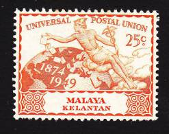 Malaya, Kelantan, Scott # 48, Mint Hinged, UPU Issue, Issued 1949 - Kelantan