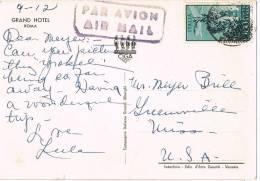 Postal Aerea ROMA (Italia) 1952 A Greenville USA - 1946-60: Marcofilie