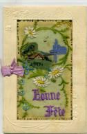 CARTE DOUBLE BRODEE SUR SOIE - BONNE FETE , Paysage Peint - Brodées