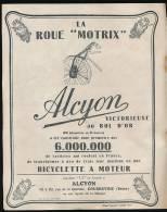 *Ancienne Publicité (1925) : Bicyclette à Moteur ALCYON, Roue Motrix, Courbevoie - Publicités