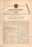 Original Patentschrift - Fritz Wendler In Glatz , Schlesien , 1902 , Schwänze Für Aktendeckel , Akten !!! - Andere Sammlungen