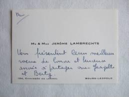 Mr.et Mme. Jérôme Lambrechts. Chaussée De Lommel. Bourg-Léopold - Cartes De Visite