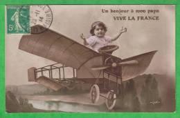 UN BONJOUR A MON PAPA - VIVE LA FRANCE - Carte De 1914 - Avions