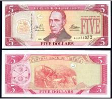 LIBERIA : 5 Dollars - 2003- P26 - FDS - Liberia
