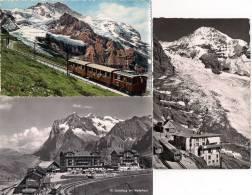 JUNGFRAU (SUISSE) Automotrices à Crémaillére Des Compagnies W.A.B. Et J.B. Lot De 3 CPSM - Trains