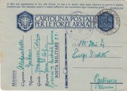 COMANDO DIFESA ALBANIA  /  PARTINICO  11.8.1942  - Card_ Cartolina Postale  In Franchigia - 1900-44 Vittorio Emanuele III
