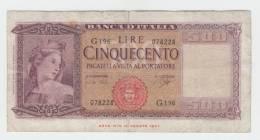 Italy 500 Lire 1947 VG++ P 80b 80 B - [ 1] …-1946 : Royaume