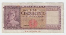 Italy 500 Lire 1947 VG++ P 80b 80 B - [ 1] …-1946 : Regno