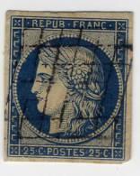 II° République 1849-1850 N° 4 25 C.bleu  Oblitéré - France