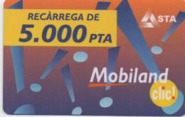 MOBILAND .Recarrega De 5000 PTA . 31/03/2003 . - Andorra