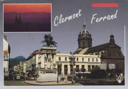 Cp , 63 , CLERMONT-FERRAND , Coucher De Soleil Sur La Ville , Place De Jaude , Statue De Vercingétorix - Clermont Ferrand