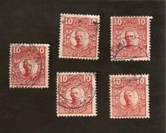 OS.18-5-3. Sweden, Sverige LOT Set Of 5 - 1855 - 1919 - 10 Ore - Oblitérés