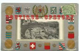 LUXEMBOURG - RARE < Vue Du Faubourg Ground - Blason Et Ecusson Des Provinces - Carte Héraldique - Dos Scané - Luxembourg - Ville