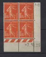 Semeuse  1 F. 05 Orange En Bloc De 4 Coin Daté RARE Faible Prix - 1906-38 Semeuse Camée
