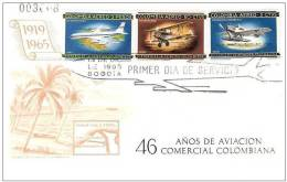 Airplanes 1965 Colombia 3 Stamps FDC Mi 1065-67 - Aviones
