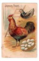 """*******FANTAISIE FÊTES GAUFREE : """"Joyeuses Pâques"""" - Coq,  Poule Et Canard Et Panier Avec Oeufs - Pâques"""