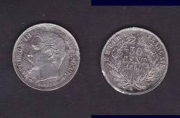 50 CENTIMES NAPOLEON III TETE NUE 1860 A TB - Francia