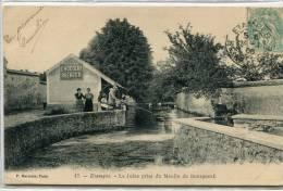 CPA 91 ETAMPES LA JUINE PRISE DU MOULIN DU BOURGNEUF 1906 Animée Vaches Traversant La Juine Au Fond - Etampes