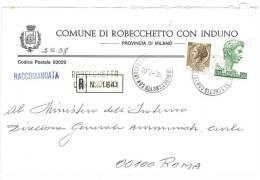 ROBECCHETTO CON INDUNO  20020 PROV. MILANO - ANNO 1980 - R  -TEMATICA COMUNI D´ITALIA - STORIA POSTALE - Affrancature Meccaniche Rosse (EMA)